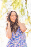 Pretty brunette with headphones Royalty Free Stock Photo