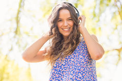 Pretty brunette with headphones Royalty Free Stock Image