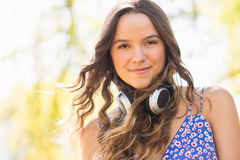 Pretty brunette with headphones Royalty Free Stock Photography