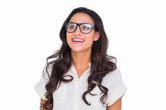 Pretty brunette in hipster glasses Royalty Free Stock Images