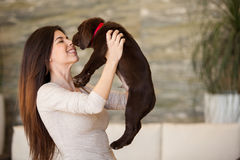 Pretty brunette kissing her dog Royalty Free Stock Photo