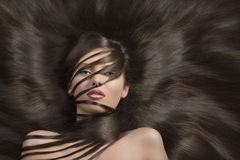 Brunette with long smooth brown hair Royalty Free Stock Photo