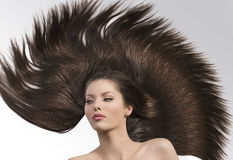 Girl with long brown hair looks at right Stock Photography