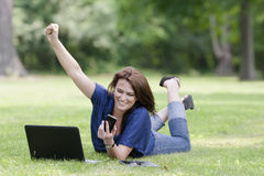 Pretty Brunette Model On Computer Royalty Free Stock Photo
