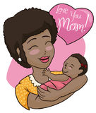Pretty Brunette Mom and Baby Celebrating Mother's Day, Vector Illustration Stock Photography