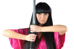 Pretty brunette ninja Stock Image