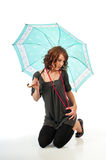 Pretty brunette with parasol Stock Photography