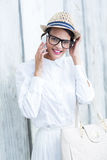 Pretty brunette on the phone Royalty Free Stock Photos