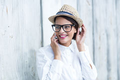 Pretty brunette on the phone Royalty Free Stock Photography