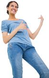 Pretty brunette playing air guitar Stock Photography
