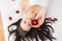 Pretty brunette posing in bed with flowers Royalty Free Stock Image