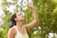 Pretty brunette pouring water over herself Royalty Free Stock Photos