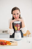 Pretty brunette preparing a healthy juice Royalty Free Stock Photos