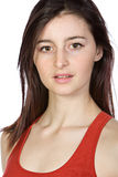 Pretty Brunette in Red Vest Stock Photos