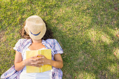Pretty brunette resting in the grass Royalty Free Stock Photo