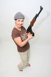 Pretty Brunette with Rifle Stock Photos