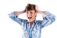 Pretty brunette shouting with hands on head Stock Photography