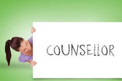 Pretty brunette showing card with counsellor Stock Photos