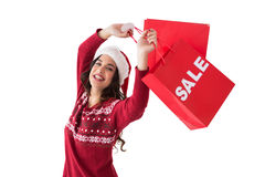 Pretty brunette showing sale bag and shopping bag Stock Images