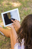 Pretty brunette sitting in the grass and using tablet Royalty Free Stock Image
