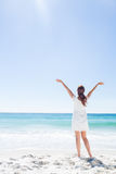 Pretty brunette standing arms outstretched Stock Image