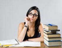 Pretty brunette student girl. Royalty Free Stock Image