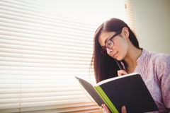 Pretty brunette studying beside window Royalty Free Stock Images