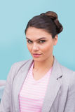 Pretty brunette with stylish up do Stock Photo