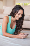 Pretty brunette texting with her smartphone Stock Photo