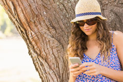 Pretty brunette texting in the park Stock Images