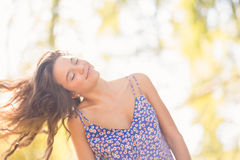 Pretty brunette tossing her hairs Stock Image