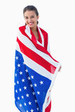 Pretty brunette wearing the american flag Royalty Free Stock Photos