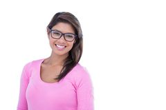 Pretty brunette wearing glasses and smiling at camera Royalty Free Stock Images