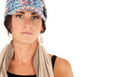 Pretty brunette wearing mulit colored knit hat and Royalty Free Stock Photography