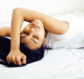 Pretty brunette woman in bed, cant sleep Royalty Free Stock Photo