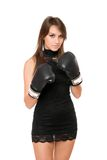 Pretty brunette woman in boxing gloves Stock Photography