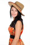 Pretty brunette woman with hat Royalty Free Stock Images