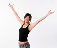 Pretty Brunette Woman Holds Arms Outstretched Jubilant Looking Up Stock Photography