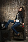Pretty brunette woman in leather jacket Royalty Free Stock Photos