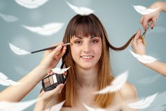 Pretty woman at salon with ethereal concept stock image