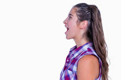A pretty brunette woman screaming. On white background Stock Images