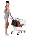 Pretty brunette woman and shopping trolley with a shopping bags Stock Images