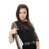 Pretty brunette woman wearing dress Royalty Free Stock Photos