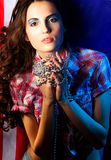 Pretty brunette woman wearing dress Royalty Free Stock Images