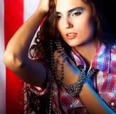 Pretty brunette woman wearing dress Royalty Free Stock Photo