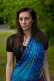 Pretty brunette woman wearing  indian dress and scarf Stock Image