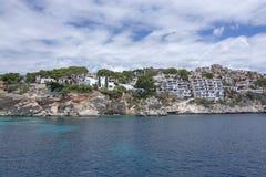 Pretty buildings Cala Fornells sea Mallorca stock images