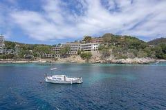 Pretty buildings llaut Cala Fornells sea Mallorca stock photo