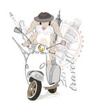 Pretty bunny in hat travels. Pretty bunny in hat travels on a scooter to the sights. Hand drawn vector illustration Royalty Free Stock Image