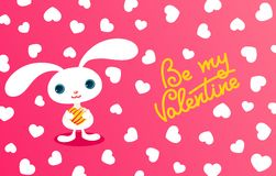 Pretty bunny. Valentine card. Royalty Free Stock Photo